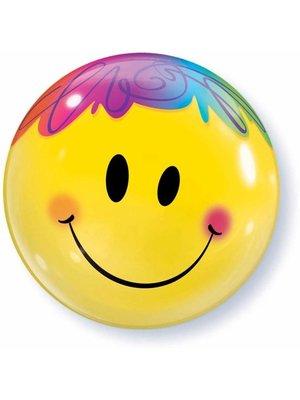 Qualatex Qualatex - Folieballon - Bubble - Smiley - Regenbooghaar - Zonder vulling - 56cm