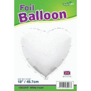Oaktree PartyXplosion - Oaktree - Folieballon - Hart - Wit - Zonder vulling - 45cm
