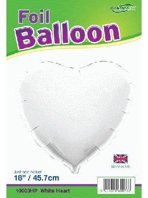 PartyXplosion - Oaktree - Folieballon - Hart - Wit - Zonder vulling - 45cm