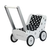 Poppenwagen - Wit - Met zilveren stippen