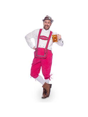 Folat Folat - Kostuum - Lederhosen - Oktoberfest - Man - Fel roze - XL/XXL
