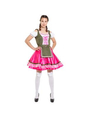 Folat Folat - Kostuum - Jurk - Tirol - Oktoberfest - Roze/groen - L/XL