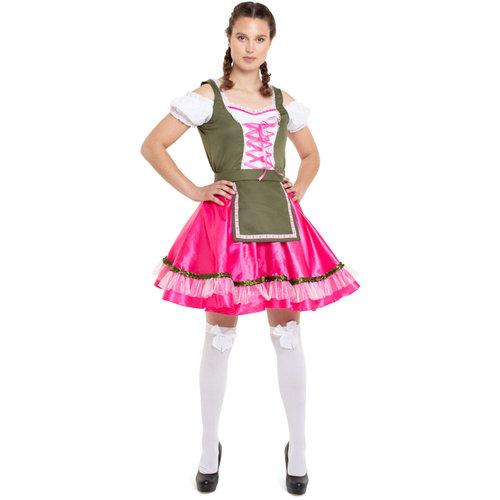 Folat Folat - Kostuum - Jurk - Tirol - Oktoberfest - Roze/groen - XXL