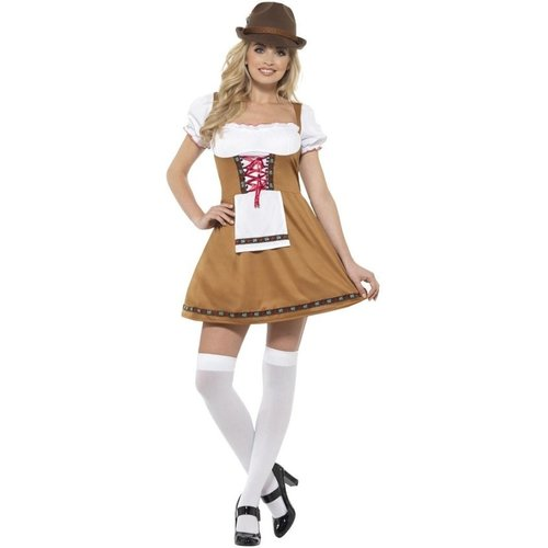 Smiffys Kostuum - Jurk - Biermeisje - Tirol - Bruin - M