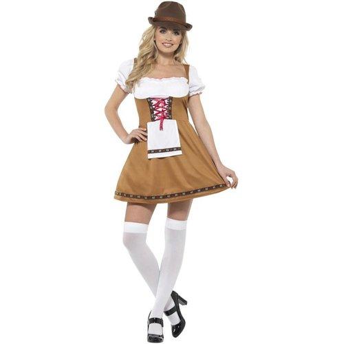 Smiffys Kostuum - Jurk - Biermeisje - Tirol - Bruin - L