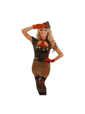 1234feest 1234feest - Sexy legervrouw - Incl. handschoenen & pet - L
