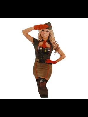 Bladwijzer Bladwijzer - Sexy legervrouw - Incl. handschoenen & pet - L