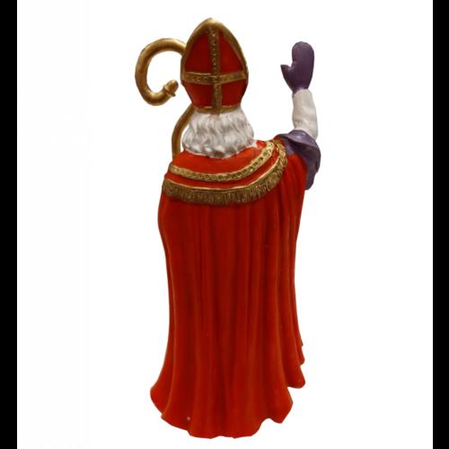 1234feest Beeldje - Sinterklaas - Met staf - Zwaaiend - Polystone - 18cm