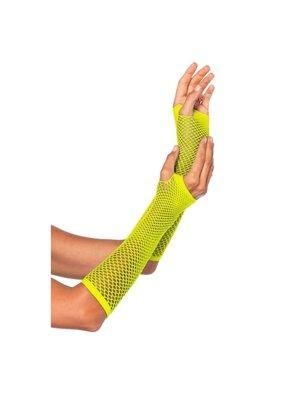 Partychimp Handschoenen - Geel - Net - Lang - Fluor / neon