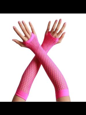 Partychimp Handschoenen - Roze - Net - Lang - Fluor / neon