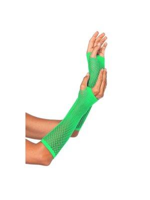 Partychimp Handschoenen - Groen - Net - Lang - Fluor / neon