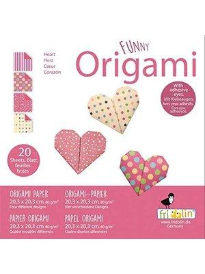 Origami - Hart - 20 Vouwblaadjes - 20x20cm