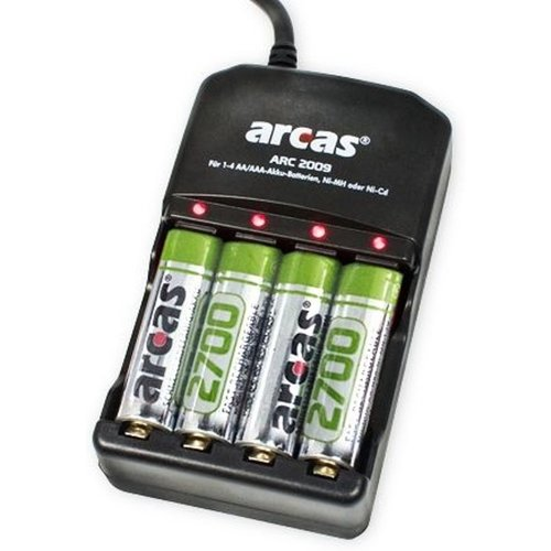 Arcas - Oplader met 4 oplaadbare AA batterijen - 2700 NI/MH