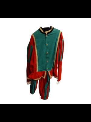 Moret Kostuum - Zwarte Piet - Groen & rood - Luxe - XL
