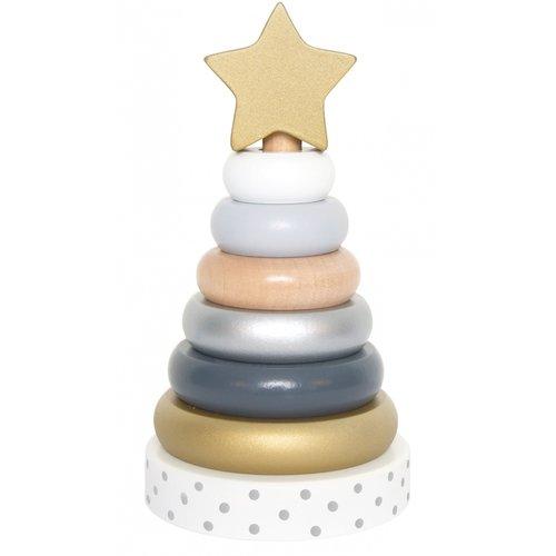 JaBaDaBaDo JaBaDaBaDo - Stapeltoren - Ringen - Goud/zilver/wit - Met ster