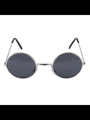 Partychimp Bril - Donker glas - Zilver frame - Rond