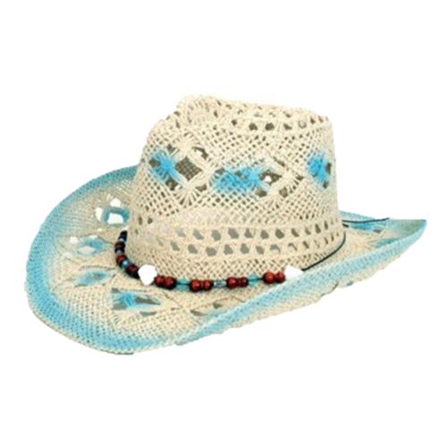 PartyXplosion Hoed - Blauw / wit - Cowboyhoed - Model Ibiza