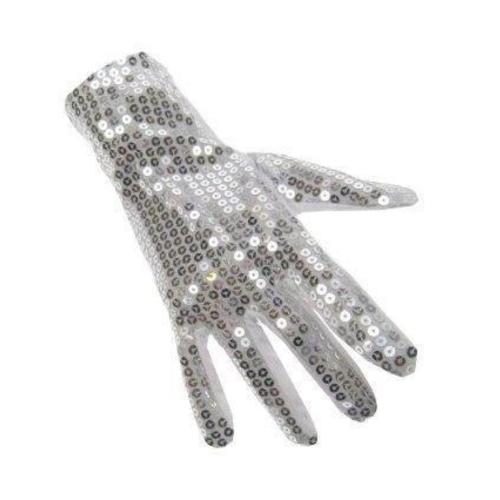 PartyXplosion PartyXplosion - Handschoenen - Michael Jackson - Pailletten - Wit/ Zilver