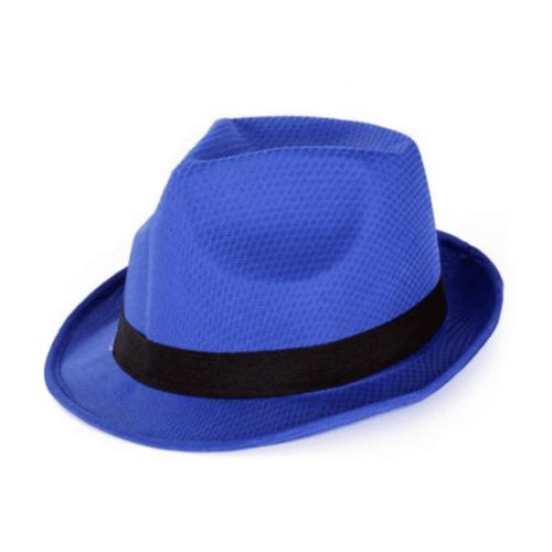 PartyXplosion Hoed - Blauw - Gleufhoed - Met zwarte rand