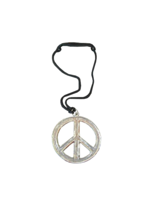 PartyXplosion Ketting - Hippie - Peaceteken - Metaal