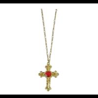 Ketting - Kruis - Goud - Sinterklaas - Incl. rode steen