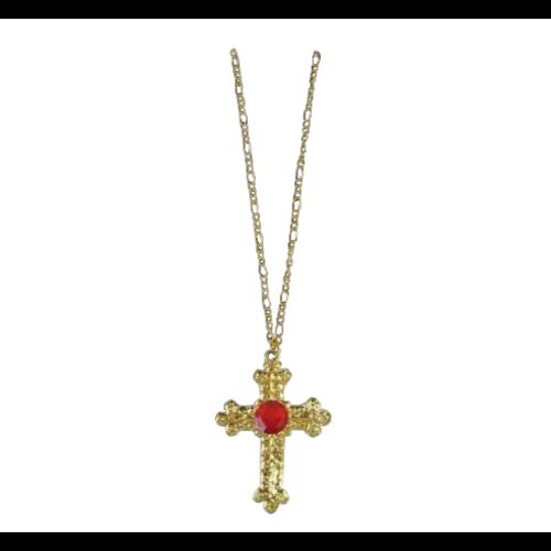 PartyXplosion Ketting - Kruis - Goud - Sinterklaas - Incl. rode steen