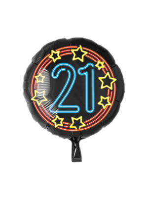 Paperdreams Folieballon - 21 Jaar - Neon - 43cm - Zonder vulling