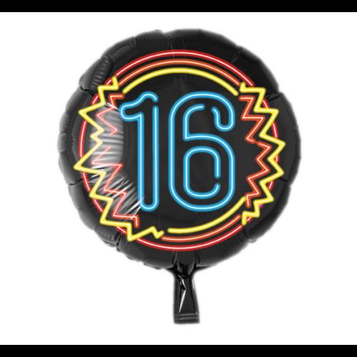 Paperdreams Folieballon - 16 Jaar - Neon - Zonder vulling