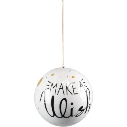 1234feest Kerstbal - Make a wish - 25cm - Kunststof