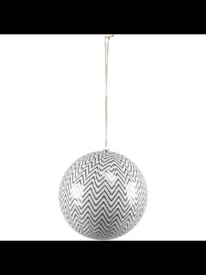 1234feest Kerstbal - Chevron - 20cm - Kunststof