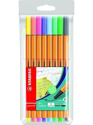 Stabilo Fineliner - Stabilo - Point 88 - Pastel - 8st.  - In etui