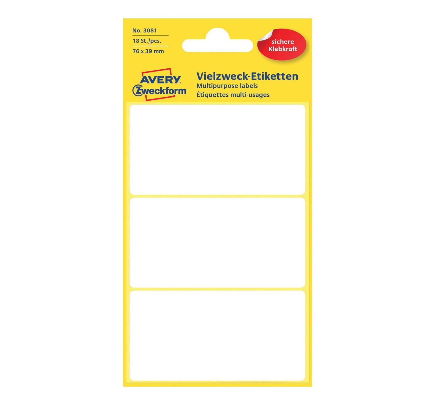 Etiketten - 7.6x3.9 cm - 18st - Wit - in Verpakken & Verzenden