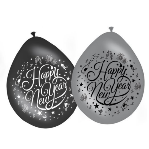 Folat Ballonnen - Happy New Year - 30cm - 8st.