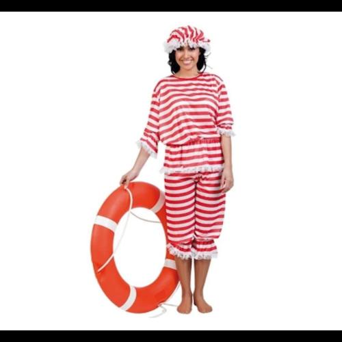 Witbaard Kostuum - Badpak - Rood, wit gestreept - M