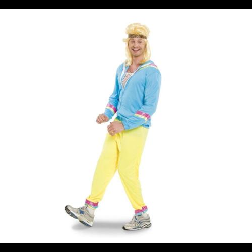 Folat Kostuum - 80's Trainingspak - Blauw - Jack, broek en hoofdband - M/L