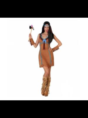 Partychimp Kostuum - Indiaanse - Bruin / blauw - XS/S