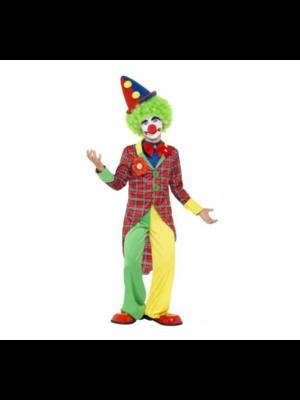 Smiffys Clown - Jas - Rood geruit - Met geel groene broek - mt.128/140