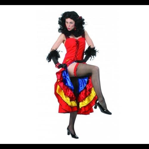 Funny Fashion Kostuum - Jurk - Cancan - Rood/geel/blauw - S