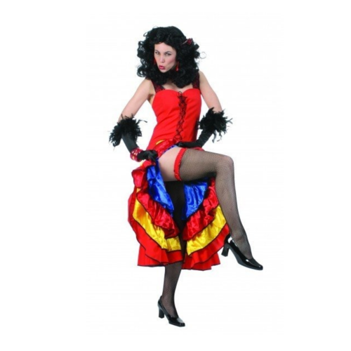 Funny Fashion Kostuum - Jurk - Cancan - Rood/geel/blauw - M/L