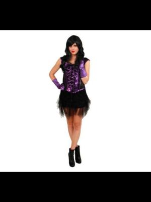 PartyXplosion Kostuum - Corset - Zwart/paars - M