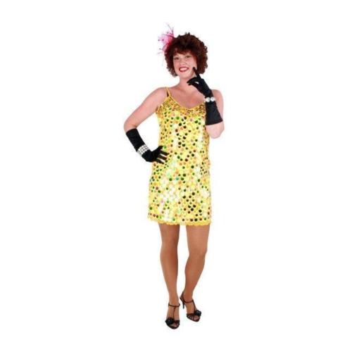 PartyXplosion Kostuum - Jurk - Confetti - Geel - L