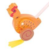 Duwstok - Kip - Bruin - in Houten Speelgoed