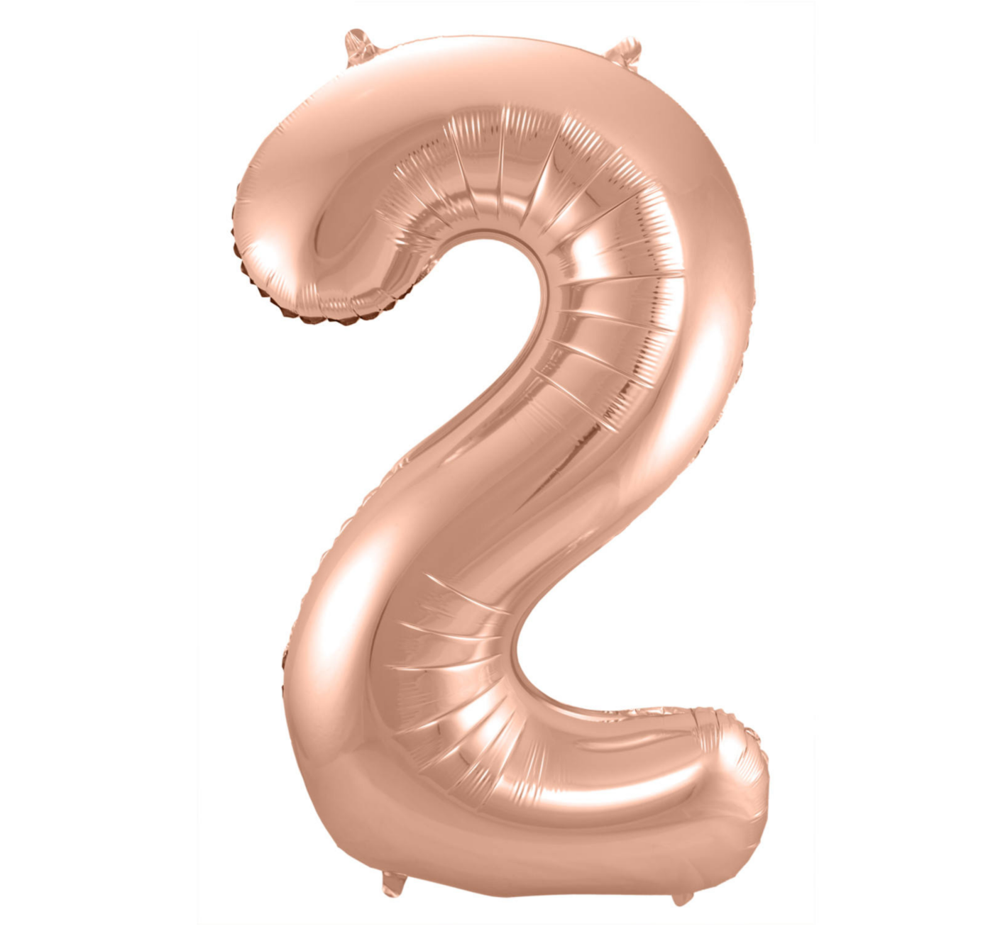 Folat Folieballon - Cijfer - 2 - Rosé goud - 86cm - Zonder vulling