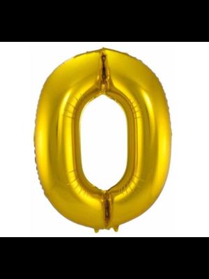 Folat Folieballon - Cijfer - 0 - Goud - 86cm - Zonder vulling