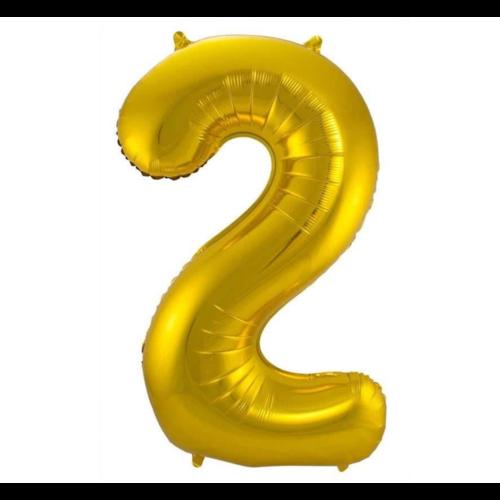 Folat Folieballon - Cijfer - 2 - Goud - 86cm - Zonder vulling