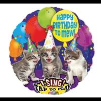 Folieballon - Happy birthday - Poezen - Met muziek - 71cm - Zonder vulling