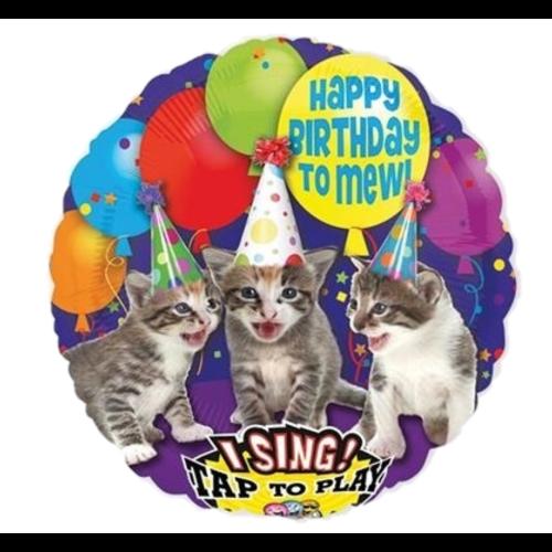 Amscan Folieballon - Happy birthday - Poezen - Met muziek - 71cm - Zonder vulling
