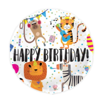 Folieballon - Happy birthday - Animals - Zonder vulling