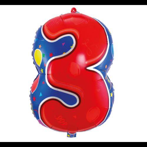 Folat Folieballon - 3 - Shape - 56cm - Zonder vulling