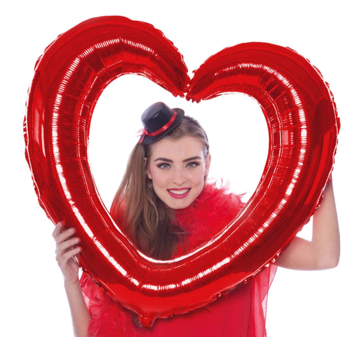 Folieballon - Selfie lijst - Hart - 80x70cm - Niet voor helium - in Feestartikelen